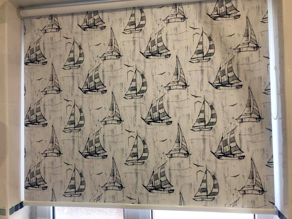Sailboat bathroom roller blind